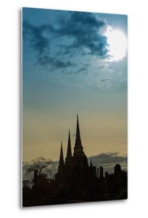 Silhouetted Chedis (Stupas), Ayutthaya, UNESCO World Heritage Site, Thailand, Southeast Asia, Asia-Alex Robinson-Metal Print