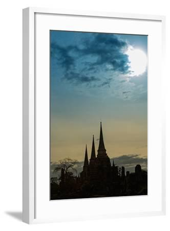 Silhouetted Chedis (Stupas), Ayutthaya, UNESCO World Heritage Site, Thailand, Southeast Asia, Asia-Alex Robinson-Framed Photographic Print