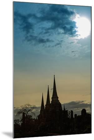 Silhouetted Chedis (Stupas), Ayutthaya, UNESCO World Heritage Site, Thailand, Southeast Asia, Asia-Alex Robinson-Mounted Photographic Print