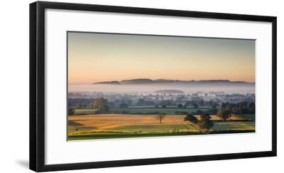 Autumn Morning Light Rakes across Cheshire Plain with Beeston Castle and Peckforton Sandstone Ridge-Garry Ridsdale-Framed Photographic Print