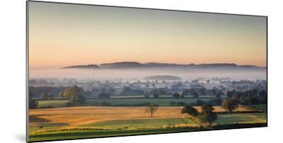 Autumn Morning Light Rakes across Cheshire Plain with Beeston Castle and Peckforton Sandstone Ridge-Garry Ridsdale-Mounted Photographic Print