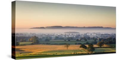 Autumn Morning Light Rakes across Cheshire Plain with Beeston Castle and Peckforton Sandstone Ridge-Garry Ridsdale-Stretched Canvas Print