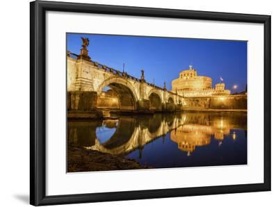 Dusk on Ancient Palace of Castel Sant'Angelo with Statues of Angels-Roberto Moiola-Framed Photographic Print