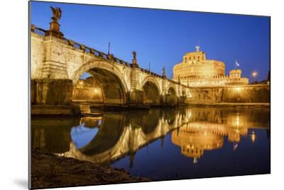 Dusk on Ancient Palace of Castel Sant'Angelo with Statues of Angels-Roberto Moiola-Mounted Photographic Print