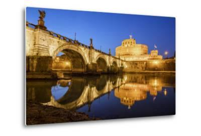 Dusk on Ancient Palace of Castel Sant'Angelo with Statues of Angels-Roberto Moiola-Metal Print