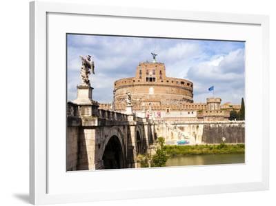 Castel Sant'Angelo, Ponte Sant'Angelo and Tiber River, UNESCO World Heritage Site, Rome, Lazio-Nico Tondini-Framed Photographic Print