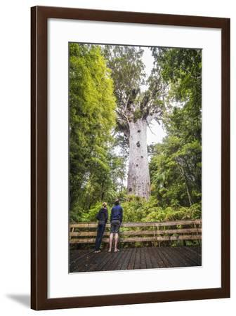 Tourists at Tane Mahuta (Lord of the Forest), the Largest Kauri Tree in New Zealand-Matthew Williams-Ellis-Framed Photographic Print