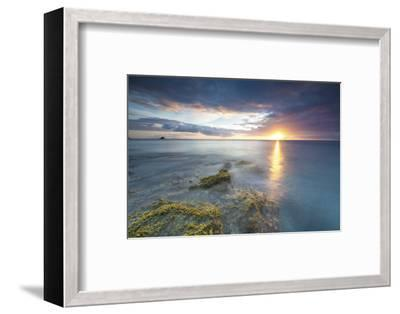 The Lights of Sunset are Reflected in the Blue Sea Hawksbill Bay, Antigua, Antigua and Barbuda-Roberto Moiola-Framed Photographic Print