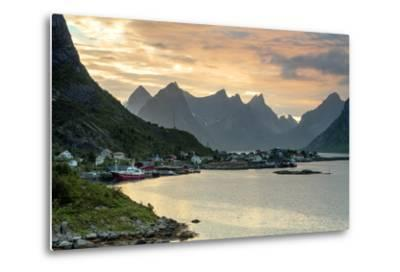 Sunset on the Fishing Village Surrounded by Rocky Peaks and Sea, Reine, Nordland County-Roberto Moiola-Metal Print
