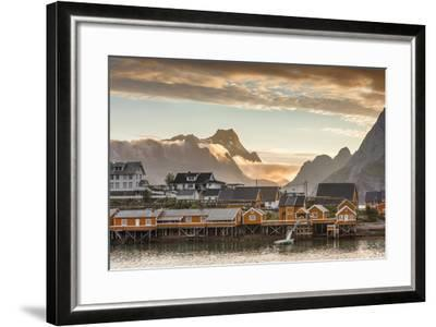 Sunset on the Fishing Village Framed by Rocky Peaks and Sea, Sakrisoya, Nordland County-Roberto Moiola-Framed Photographic Print