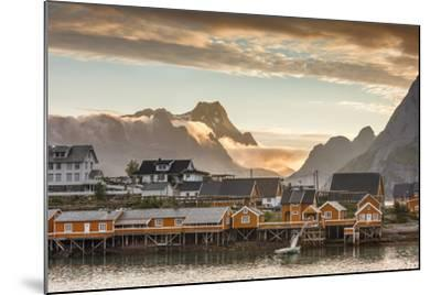 Sunset on the Fishing Village Framed by Rocky Peaks and Sea, Sakrisoya, Nordland County-Roberto Moiola-Mounted Photographic Print
