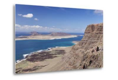 View from Famara Mountains to La Graciosa Island, Lanzarote, Canary Islands, Spain, Atlantic-Markus Lange-Metal Print