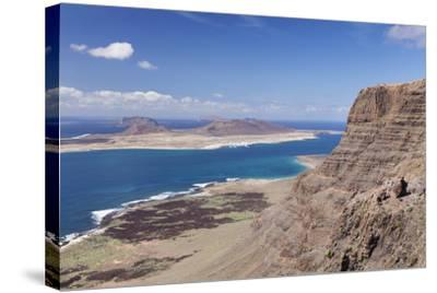 View from Famara Mountains to La Graciosa Island, Lanzarote, Canary Islands, Spain, Atlantic-Markus Lange-Stretched Canvas Print