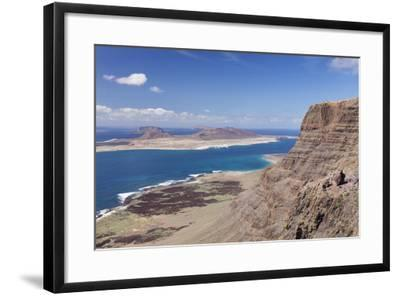 View from Famara Mountains to La Graciosa Island, Lanzarote, Canary Islands, Spain, Atlantic-Markus Lange-Framed Photographic Print