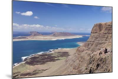 View from Famara Mountains to La Graciosa Island, Lanzarote, Canary Islands, Spain, Atlantic-Markus Lange-Mounted Photographic Print