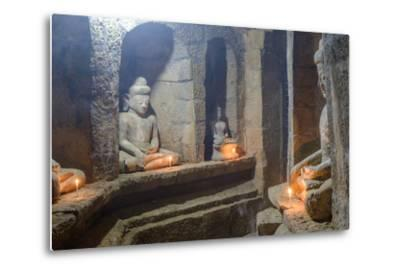 Statues of Buddha, Pagoda of Andaw, Dated 1521, Mrauk U, Rakhaing State, Myanmar (Burma), Asia-Nathalie Cuvelier-Metal Print