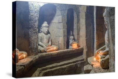 Statues of Buddha, Pagoda of Andaw, Dated 1521, Mrauk U, Rakhaing State, Myanmar (Burma), Asia-Nathalie Cuvelier-Stretched Canvas Print