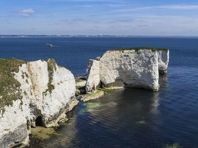 Old Harry Rocks at the Foreland (Handfast Point), Poole Harbour, Isle of Purbeck-Roy Rainford-Framed Photographic Print