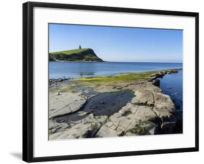 Rock Ledges and Clavell Tower in Kimmeridge Bay, Isle of Purbeck, Jurassic Coast-Roy Rainford-Framed Photographic Print