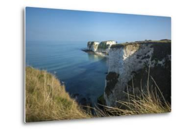 A Woman Looks Out at Old Harry Rocks at Studland Bay in Dorset on the Jurassic Coast-Alex Treadway-Metal Print