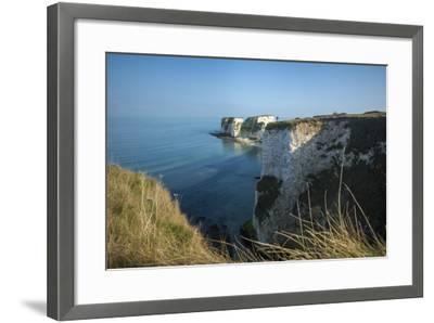 A Woman Looks Out at Old Harry Rocks at Studland Bay in Dorset on the Jurassic Coast-Alex Treadway-Framed Photographic Print