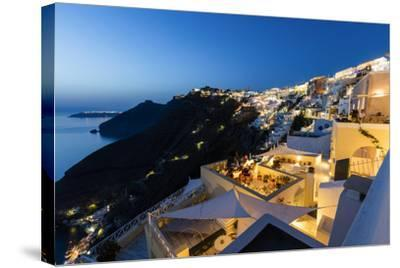 View of the Aegean Sea from the Typical Greek Village of Firostefani at Dusk, Santorini, Cyclades-Roberto Moiola-Stretched Canvas Print