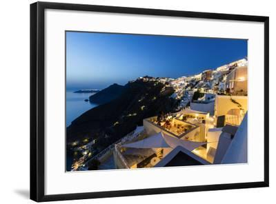 View of the Aegean Sea from the Typical Greek Village of Firostefani at Dusk, Santorini, Cyclades-Roberto Moiola-Framed Photographic Print