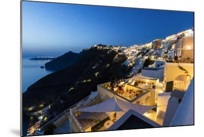View of the Aegean Sea from the Typical Greek Village of Firostefani at Dusk, Santorini, Cyclades-Roberto Moiola-Mounted Photographic Print