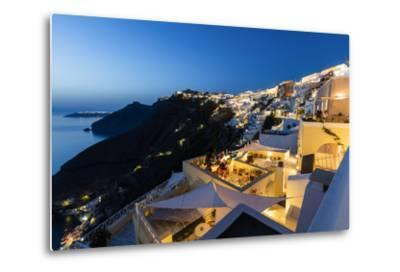 View of the Aegean Sea from the Typical Greek Village of Firostefani at Dusk, Santorini, Cyclades-Roberto Moiola-Metal Print