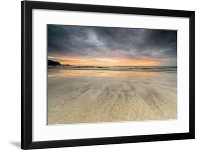 The Midnight Sun Reflected on the Sandy Beach of Skagsanden, Ramberg, Nordland County-Roberto Moiola-Framed Photographic Print