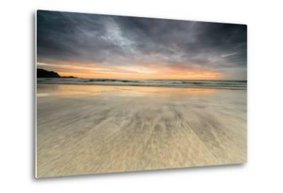 The Midnight Sun Reflected on the Sandy Beach of Skagsanden, Ramberg, Nordland County-Roberto Moiola-Metal Print