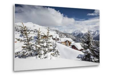 The Winter Sun Shines on the Snowy Mountain Huts and Woods, Bettmeralp, District of Raron-Roberto Moiola-Metal Print