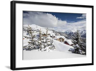 The Winter Sun Shines on the Snowy Mountain Huts and Woods, Bettmeralp, District of Raron-Roberto Moiola-Framed Photographic Print