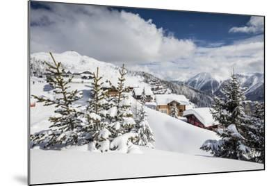 The Winter Sun Shines on the Snowy Mountain Huts and Woods, Bettmeralp, District of Raron-Roberto Moiola-Mounted Photographic Print