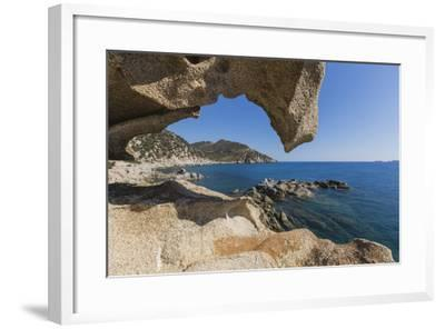 View of the Blue Sea from a Natural Sea Cave of Rocks Shaped by Wind, Punta Molentis, Villasimius-Roberto Moiola-Framed Photographic Print