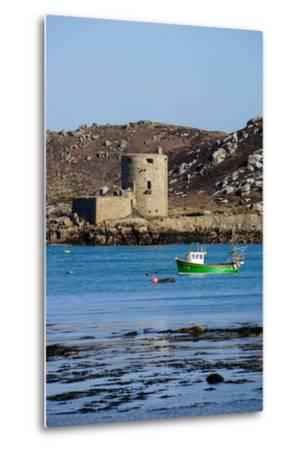 Fishing Boat, Cromwell's Castle on Tresco, Isles of Scilly, England, United Kingdom, Europe-Robert Harding-Metal Print
