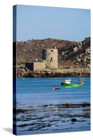 Fishing Boat, Cromwell's Castle on Tresco, Isles of Scilly, England, United Kingdom, Europe-Robert Harding-Stretched Canvas Print