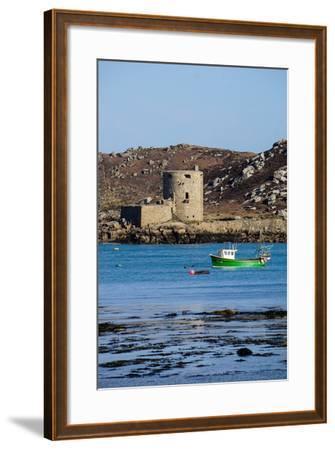 Fishing Boat, Cromwell's Castle on Tresco, Isles of Scilly, England, United Kingdom, Europe-Robert Harding-Framed Photographic Print