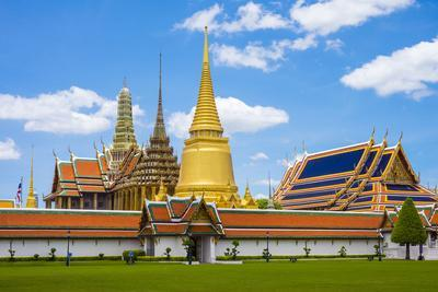 Spires and Stupas of Temple of the Emerald Buddha (Wat Phra Kaew), Grand Palace Complex, Bangkok-Jason Langley-Photographic Print