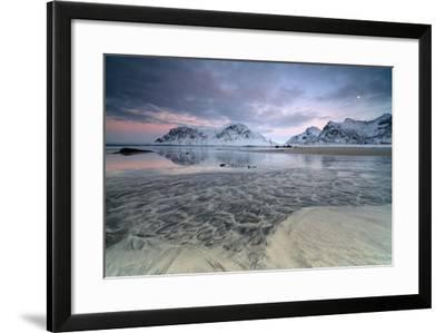 Black Sand and Full Moon as Surreal Scenery at Skagsanden Beach, Flakstad, Nordland County-Roberto Moiola-Framed Photographic Print