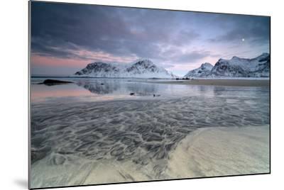 Black Sand and Full Moon as Surreal Scenery at Skagsanden Beach, Flakstad, Nordland County-Roberto Moiola-Mounted Photographic Print