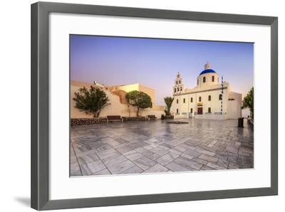 The Holy Orthodox Church of Panagia with the Colors White and Blue the Icons of Greece, Oia-Roberto Moiola-Framed Photographic Print