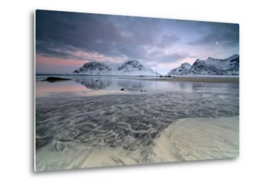Black Sand and Full Moon as Surreal Scenery at Skagsanden Beach, Flakstad, Nordland County-Roberto Moiola-Metal Print