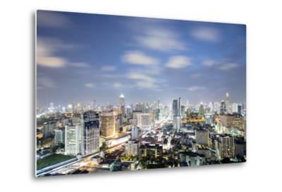 City Skyline at Night, Bangkok, Thailand, Southeast Asia, Asia-Alex Robinson-Metal Print
