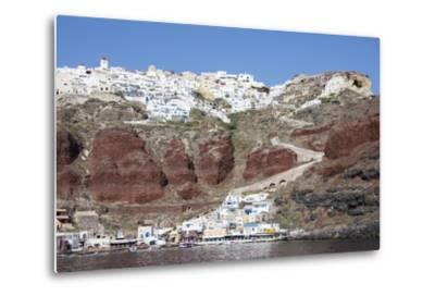 Typical Greek Village Perched on Volcanic Rock with White and Blue Houses and Windmills, Santorini-Roberto Moiola-Metal Print