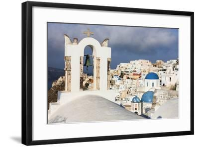 The White of the Church and Houses and the Blue of Aegean Sea as Symbols of Greece, Oia, Santorini-Roberto Moiola-Framed Photographic Print