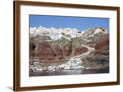 Typical Greek Village Perched on Volcanic Rock with White and Blue Houses and Windmills, Santorini-Roberto Moiola-Framed Photographic Print