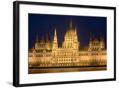 Main Part of Hungarian Parliament on Warm Summer Night, Budapest, Hungary, Europe-Julian Pottage-Framed Photographic Print