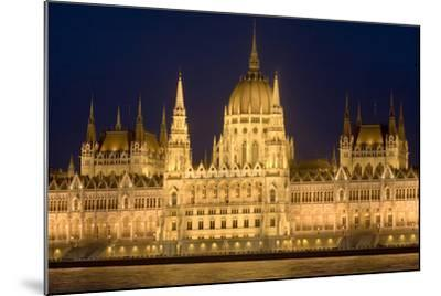 Main Part of Hungarian Parliament on Warm Summer Night, Budapest, Hungary, Europe-Julian Pottage-Mounted Photographic Print