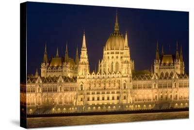 Main Part of Hungarian Parliament on Warm Summer Night, Budapest, Hungary, Europe-Julian Pottage-Stretched Canvas Print